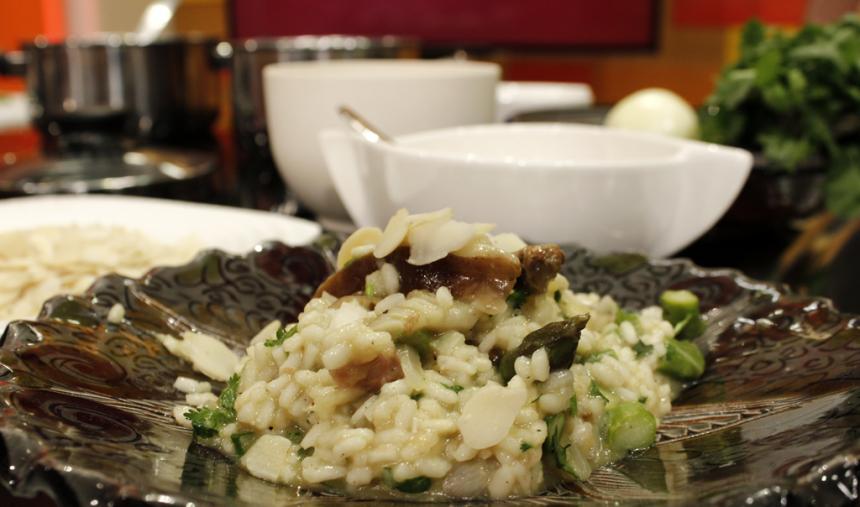 Risotto de Alheira com Cogumelos Shiitake e Queijo da Ilha