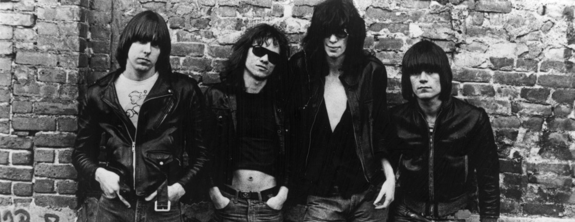American punk rock group The Ramones. Left to right: Johnny Ramone (1948 - 2004) Tommy Ramone, Joey Ramone (1951 - 2001) and Dee Dee Ramone (1952 - 2002).   (Photo by Roberta Bayley/Evening Standard/Hulton Archive/Getty Images)