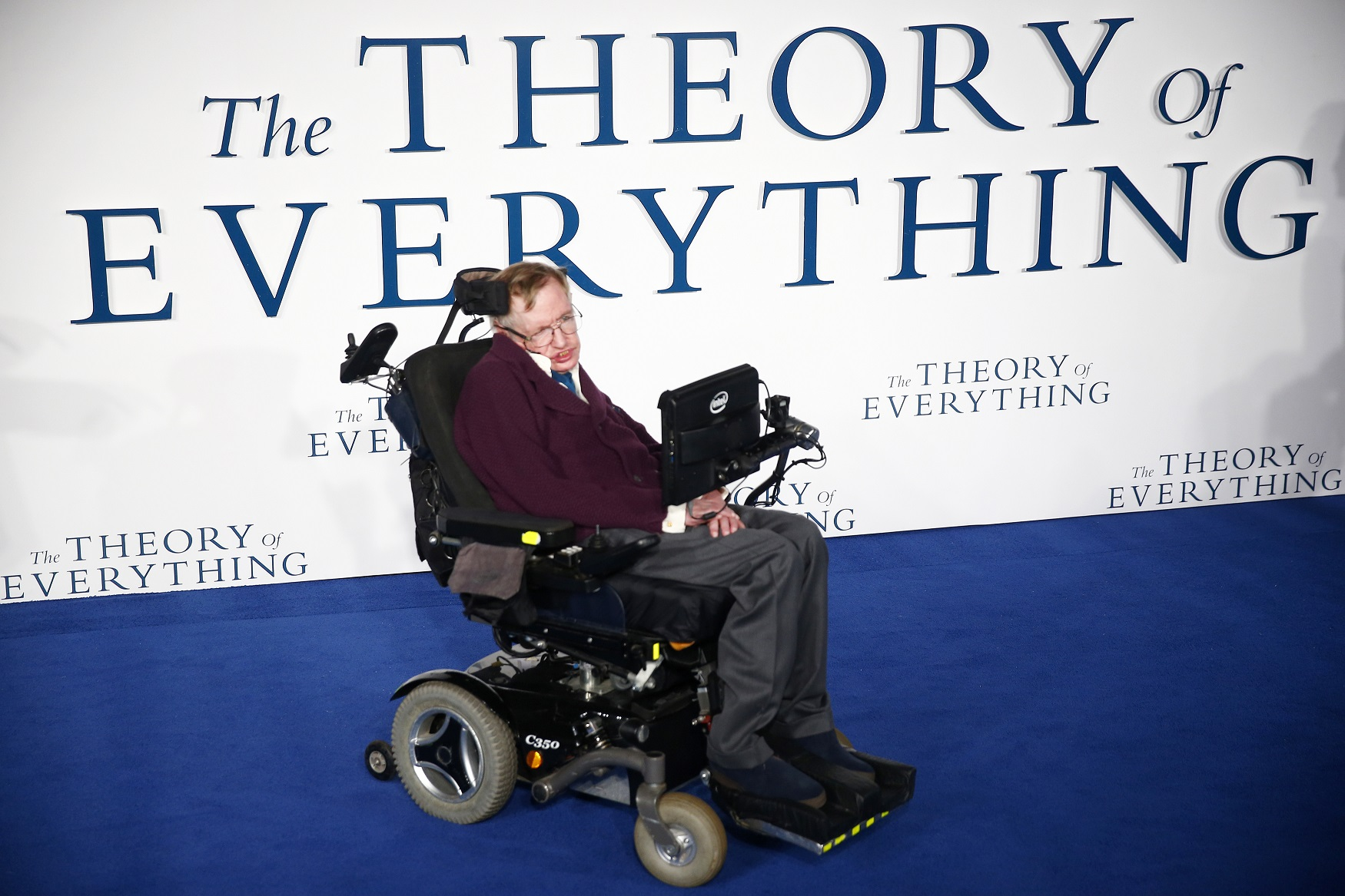 """Stephen Hawking arrives at the UK premiere of the film """"The Theory of Everything"""" which is based around his life, at a cinema in central London"""