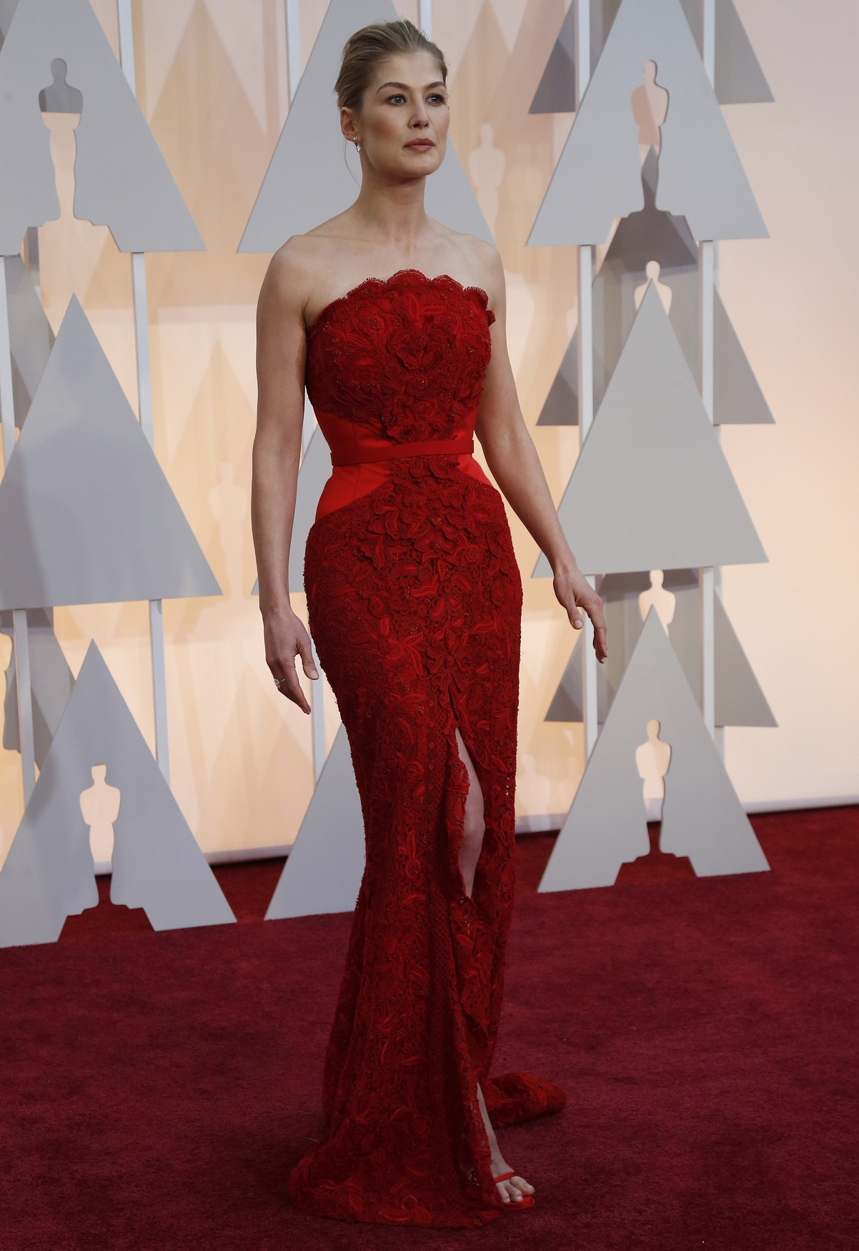 Best actress nominee Pike arrives at the 87th Academy Awards in Hollywood