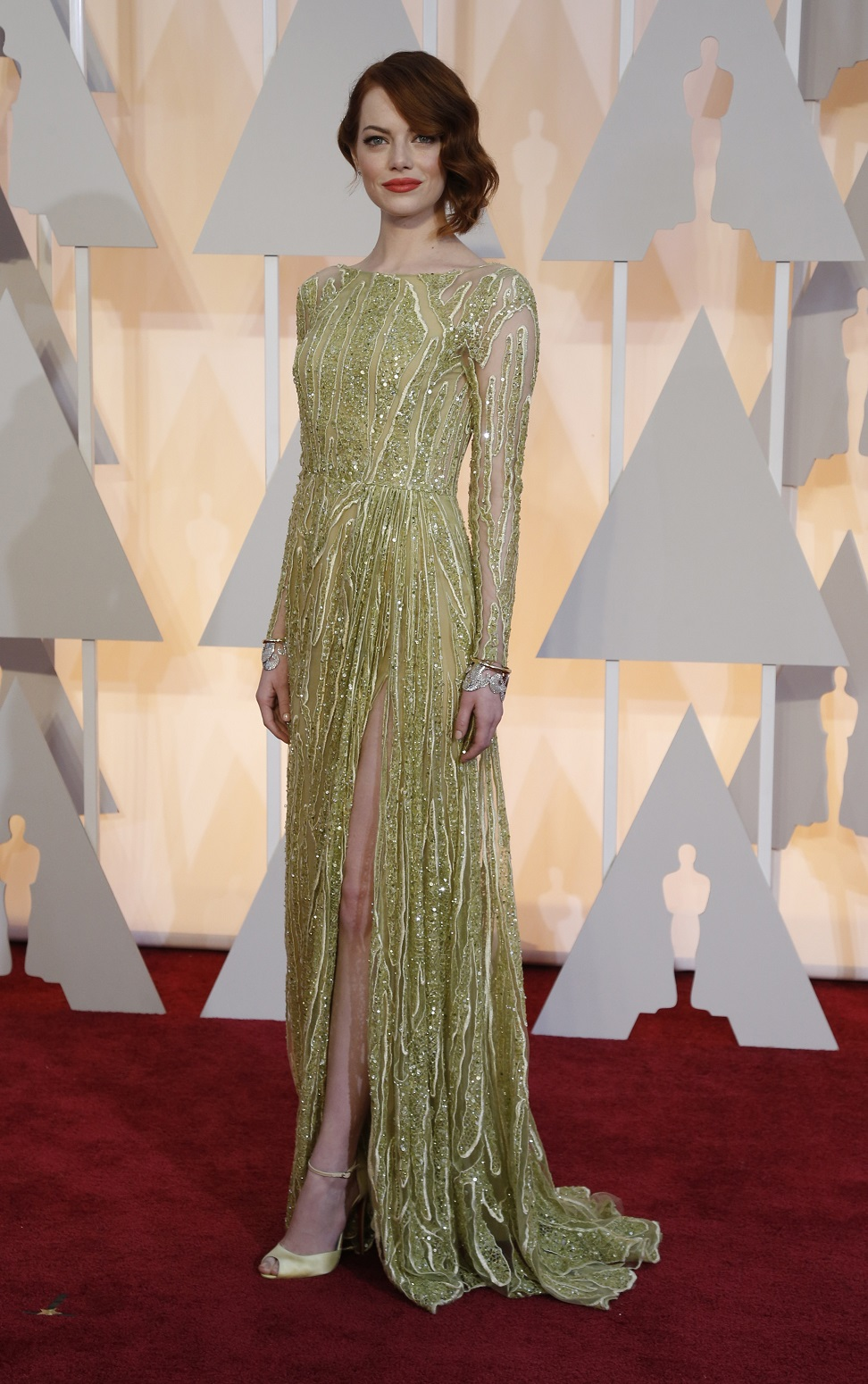 Actress Emma Stone arrives at the 87th Academy Awards in Hollywood
