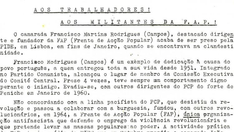 Aos trabalhadores e militantes da FAP - sobre Martins Rodrigues