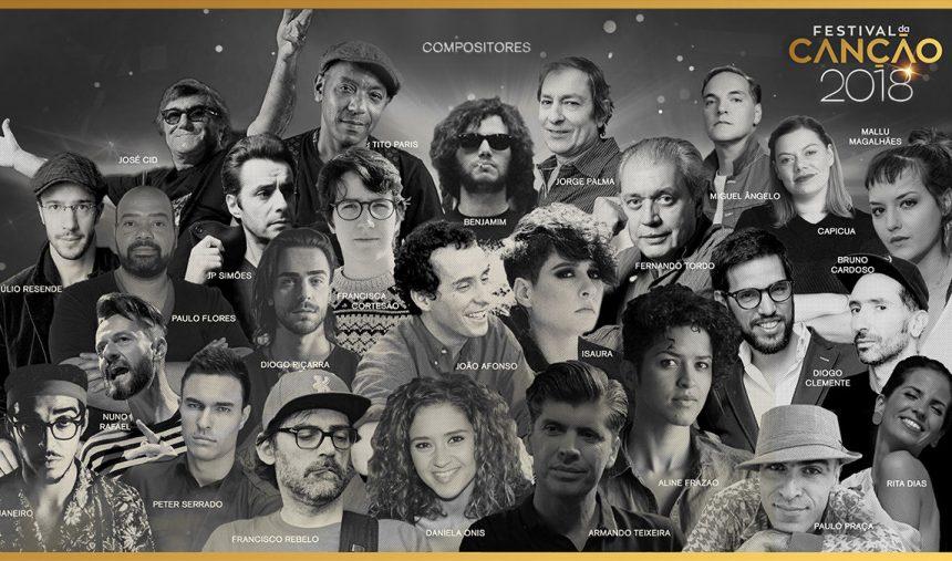 São estes os (vinte e seis) compositores do Festival da Canção 2018