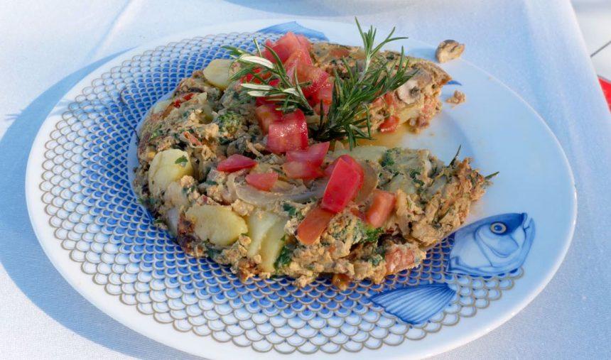 Tortilha de cogumelos e legumes - Culinária