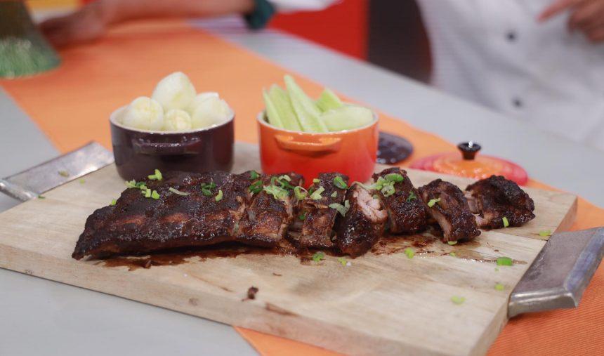 Costela Agri-doce com Cebolinho de Amarante Rachada com Sal - Chef Paula Peliteiro