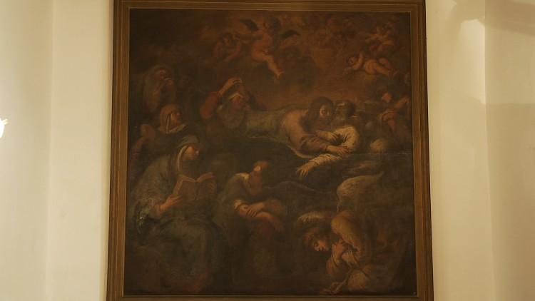 Jesus abraça São José no leito de morte